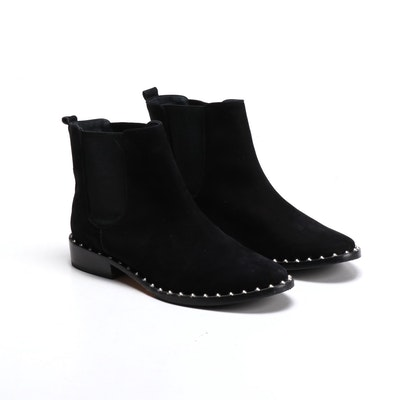 Schutz Shabba Black Nubuck Leather Studded Chelsea Boots