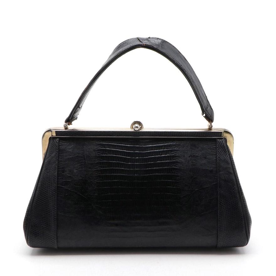 Black Lizard Skin Handbag, Mid-20th Century
