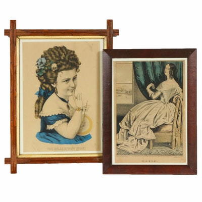Curier and Ives Hand-Colored Lithographs, Mid to Late 19th Century