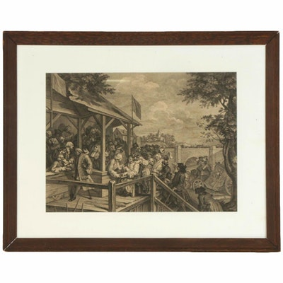 """Genre Scene Engraving after William Hogarth """"The Polling"""", 19th Century"""