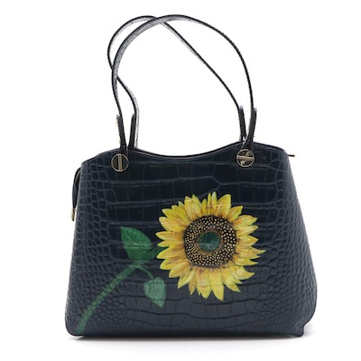 Monforte Crocodile Embossed Leather Bag with Signed Hand-Painted Sunflower