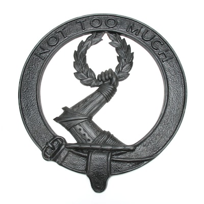 """Cast Iron Mackinlay Clan Crest Plaque """"Not Too Much"""""""