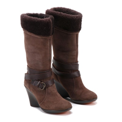 You by Crocs Shearling Lined Suede Wedge Heeled Boots