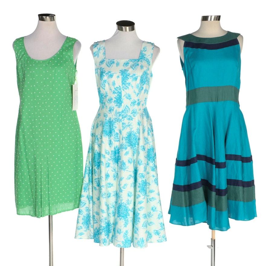 J. Peterman Dotted, Foliate and Striped Sleeveless Dresses