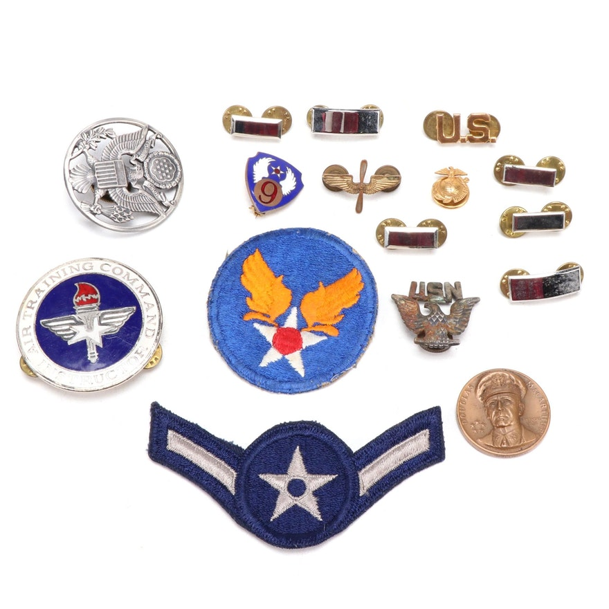 WWII Air Force Badges, Insignia and Medallion, Including Sterling Silver