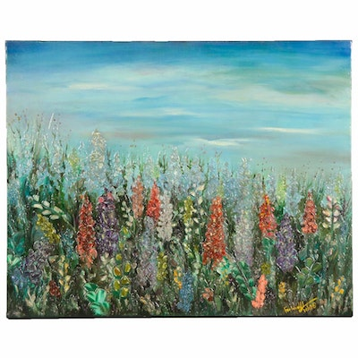 Farshad Lanjani Abstract Field of Flowers Oil Painting