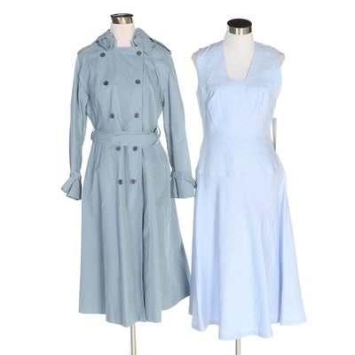 J. Peterman Blue Hooded European Style Raincoat and Square Neck Sleeveless Dress