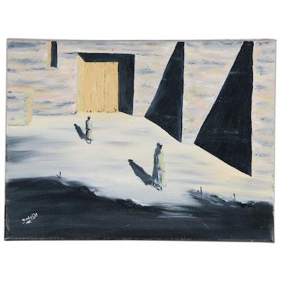 Charles Yodelis Oil Painting of Figural Landscape