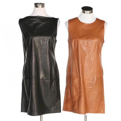 Vince Sleeveless Leather Sleeveless Shift Dresses