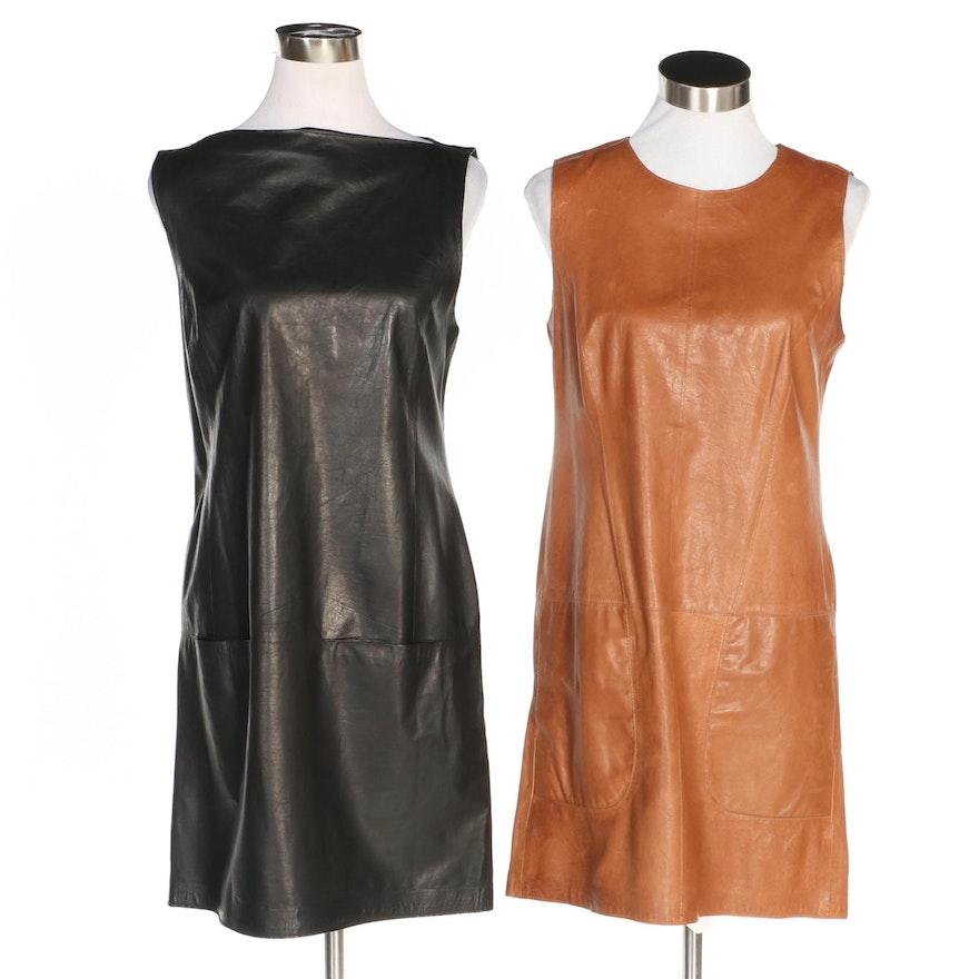 Vince Sleeveless Leather Sleeveless Shift Dresses