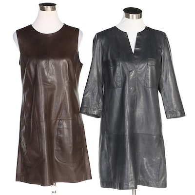 Vince Leather Shift Dresses with Pockets