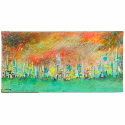 Farshad Lanjani Abstract Cityscape Acrylic Painting
