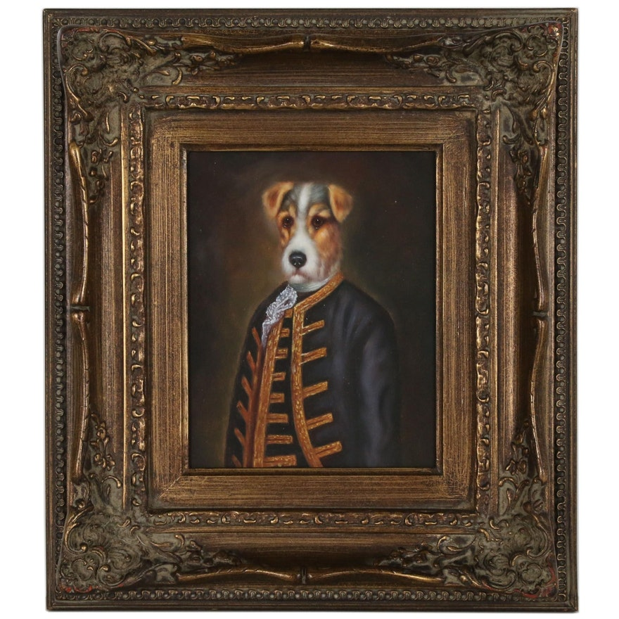 Anthropomorphic Dog Oil Painting