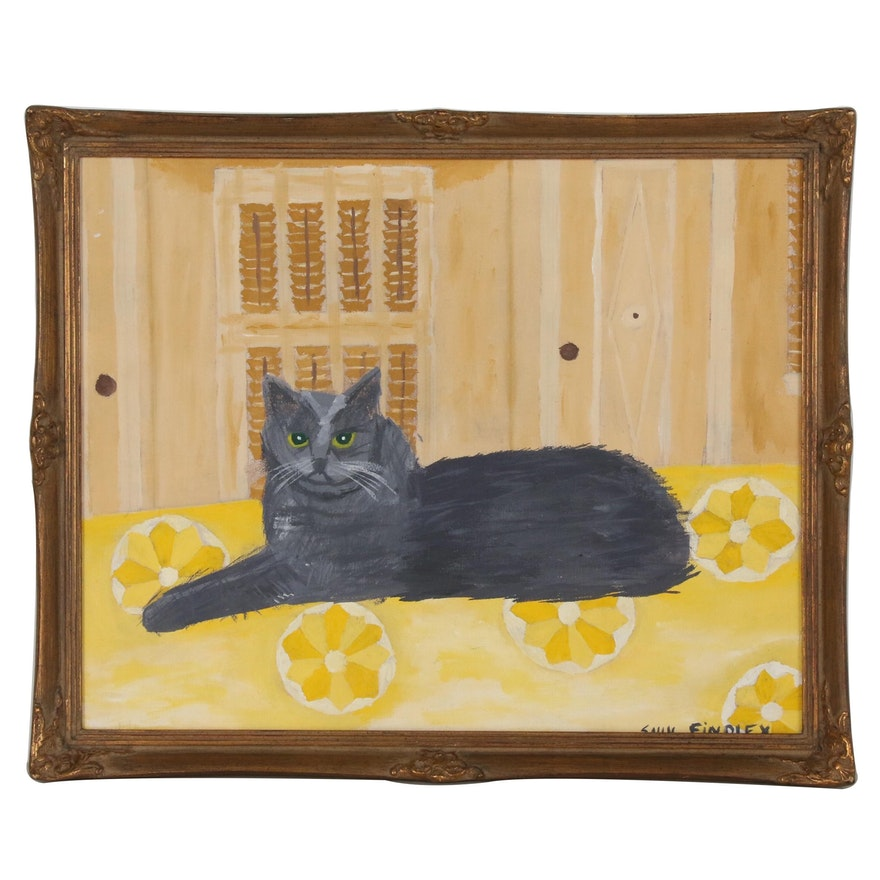 Sally Findley Acrylic Painting of Cat