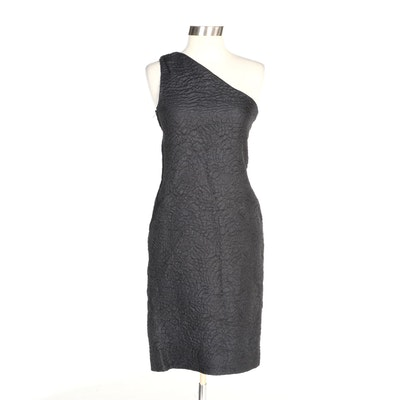 Saint Laurent Textured Wool and Silk One-Shoulder Cocktail Dress