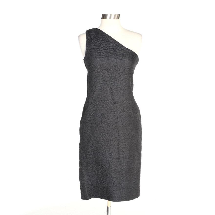 Saint Laurent Textured Wool and Silk One-Shoulder Cocktail Dress