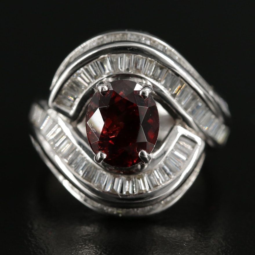 14K Gold 3.16 CT Spinel and 2.25 CTW Diamond Ring