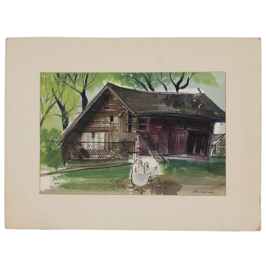 Helen Edell Sloan Watercolor Painting of Farmyard