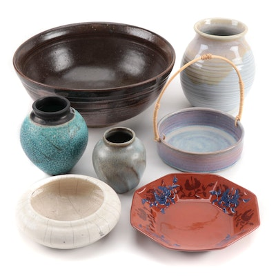 Decorative Hand-Thrown Bowls and Vases, Mid to Late 20th Century