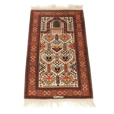3'0 x 5'8 Hand-Knotted Caucasian Prayer Rug, Signed