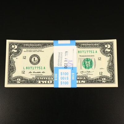 Group of Fifty Consecutive Serial Numbered Series 2013 $2 Federal Reserve Notes
