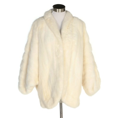 Emba Platinum Mink Fur Jacket with Batwing Sleeves