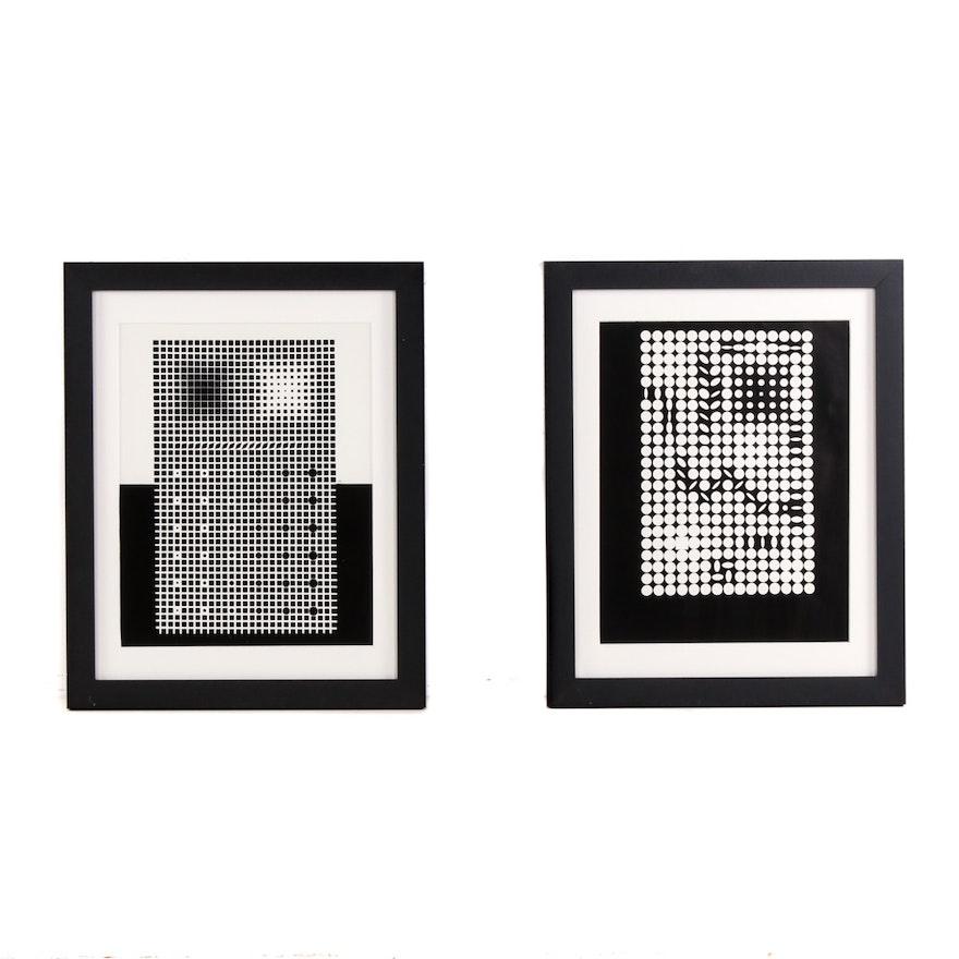 After Victor Vasarely Op-Art Serigraphs