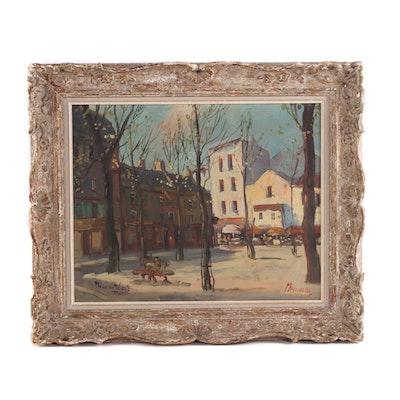"Mario Marinelli Oil Painting ""Place Du Tertre, Paris"", Mid-20th Century"