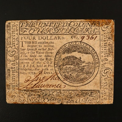 1775 Four dollars Obsolete Continental Currency Note