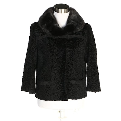 Black Broadtail Lamb Jacket with Mink Fur Collar from Fuhrman's of Beverly Hills