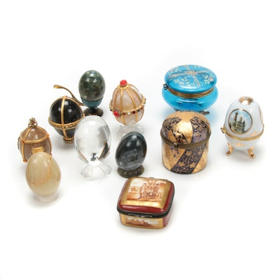 Sevres Style Porcelain Pill Box, Embellished Stone Eggs and Other Decor