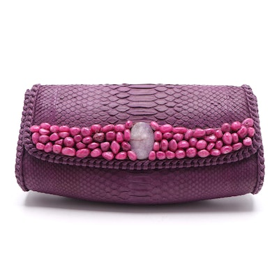 Eileen Kramer Aubergine Python Clutch Purse with Polished Stone Embellishments