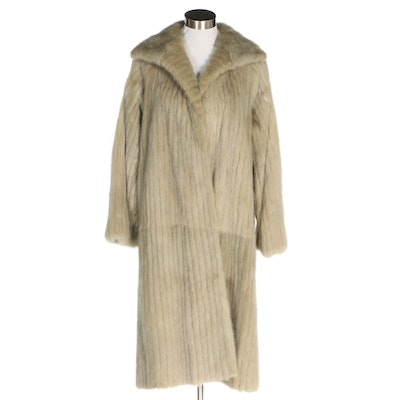 Corded Mink Fur Coat with Wide Collar