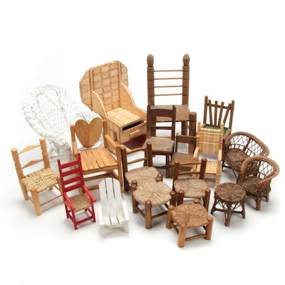 Hand-Crafted Wooden and Wicker Doll Chairs, Vintage
