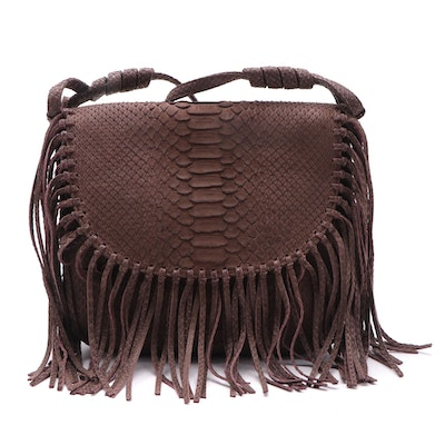Eileen Kramer Brown Python Fringed Alana Crossbody Bag