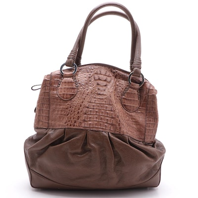Eileen Kramer Two-Tone Crocodile Skin and Grained Leather Shoulder Bag
