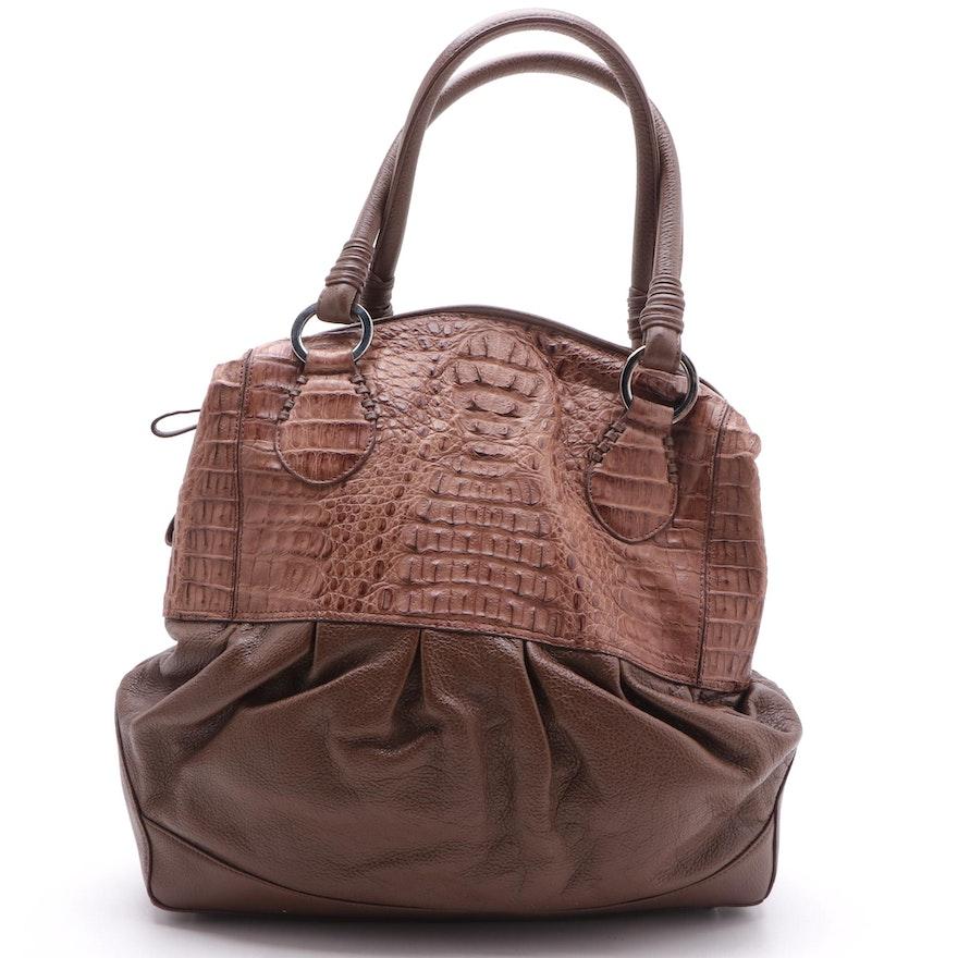 Eileen Kramer Two-Tone Crocodile Skin and Grained Leather Shoulder Bag