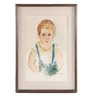Genia Urbont Child Portrait Watercolor Painting, 1953