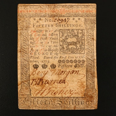 1773 Pennsylvania Fifteen Shillings Obsolete Colonial Currency Note
