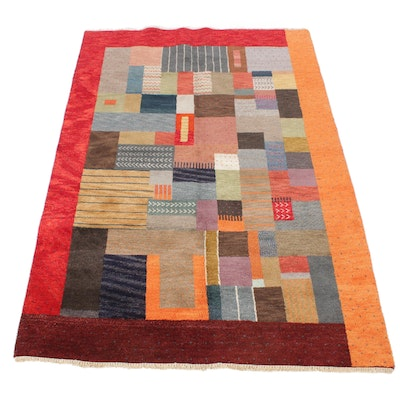 5'5 x 8'1 Hand-Knotted Indian Mid Century Modern Style Rug