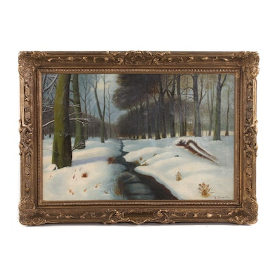 "Daniel Sherrin Oil Painting ""January"", 1910"