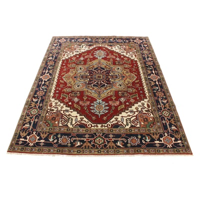 7'10 x 9'11 Hand-Knotted Indo-Persian Heriz Serapi Rug