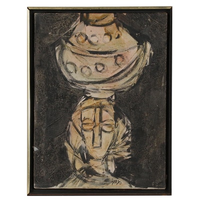 Moshe Katz Mixed Media Impasto Painting of Figure with Vessel