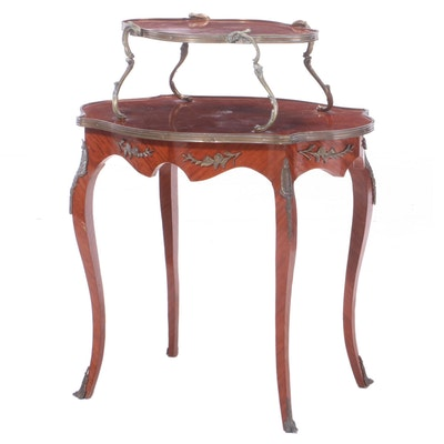 Louis XV Style Satinwood and Brass Mounted Tiered Table, Mid-20th Century