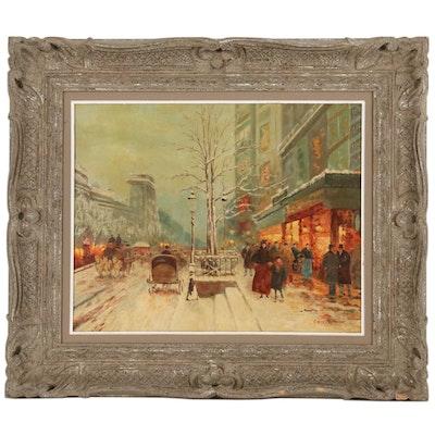 Erich Mattukat Parisian Street Scene Oil Painting, Mid 20th Century