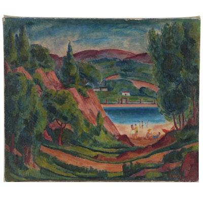 C. Gallo Beachside Landscape Oil Painting