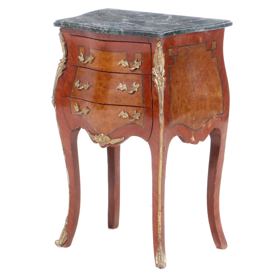 Louis XV Style Gilt Metal-Mounted Marble Top Inlaid Nightstand, Late 20th C.
