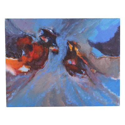 Fiore Custode Abstract Oil Painting, 1980