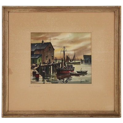 "John Hare Watercolor Painting ""Dusk at Gloucester"""
