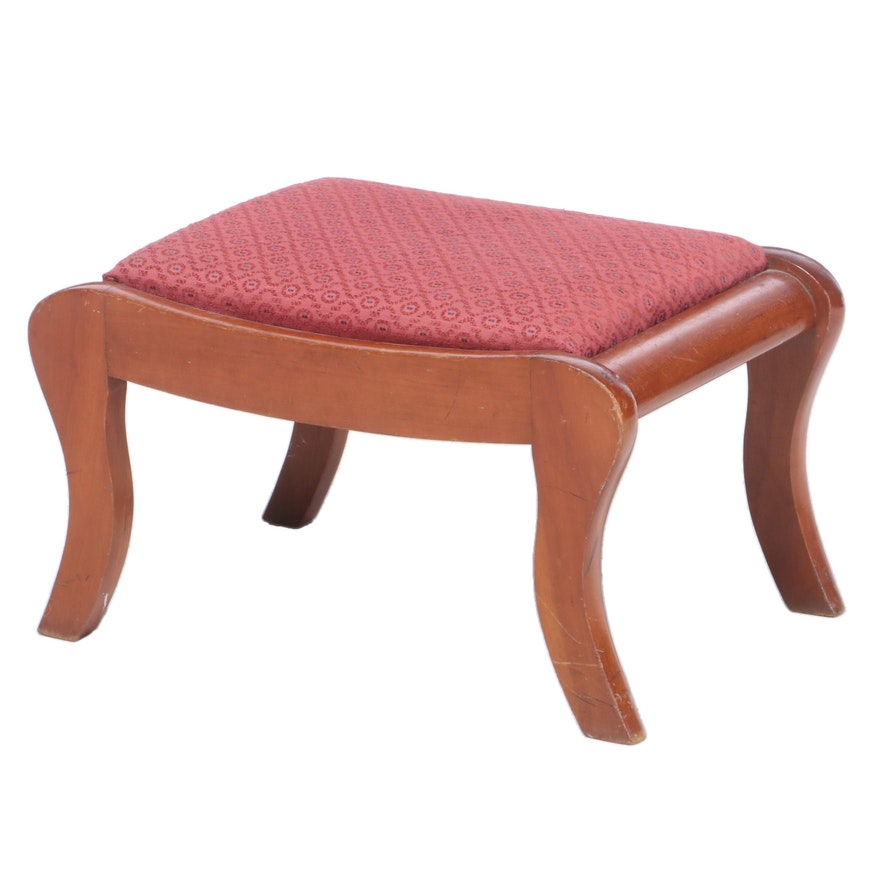 Federal Style Cherry Saber-Leg Footstool, Mid 20th Century